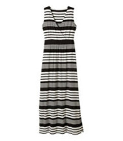 Summer Knit Maxi Dress, Sleeveless Variegated Stri