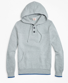 Cotton Heavy-Knit Henley Hoodie