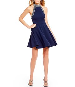 B. Darlin Jewel-Trimmed Mock Neck Fit-And-Flare Dr