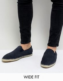 Frank Wright Wide Fit Slip On Espadrilles In Navy