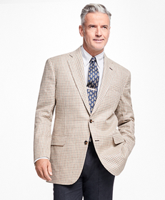 Madison Fit Olive and Brown Multi Check Sportcoat