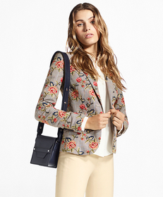 Floral-Embroidered Mini-Houndstooth Cotton Jacket