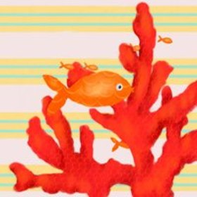 Oopsy Daisy's Red Coral and Little Fish Canvas Wal