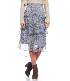 Chelsea & Violet Floral Print Tiered Ruffle Midi S