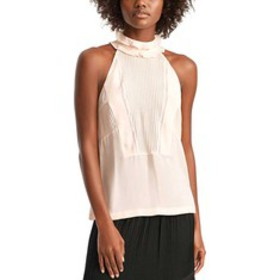 A.L.C. Grace Silk High-Neck Pleated-Bib Sleeveless