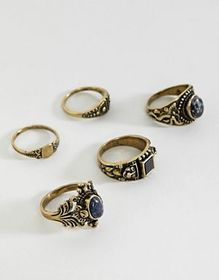 ASOS EDITION chunky ornate ring pack with stones i