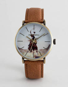 ASOS DESIGN Watch In Brown And Gold With Painted R