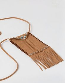 ASOS DESIGN festival pouch pendant in brown