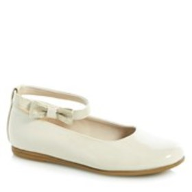 Girls Patent Bow Ankle Strap Flats