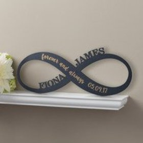 Personalized Black Wood Plaque - Infinity Sign Ant
