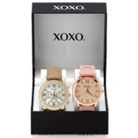 XOXO Womens Silicone & Faux Leather Watch 2-Piece