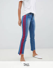 Only Tall straight leg crop jean with sports strip