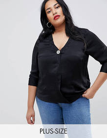 New Look Curve shirt with button in black