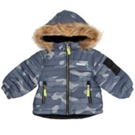 LONDON FOG Baby Boys Grey Camouflage Puffer with H