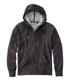 Washed Cotton Double-Knit Henley Hoodie, Slightly