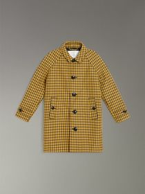 Shrunken Check Cotton Blend Car Coat in Bright Saf