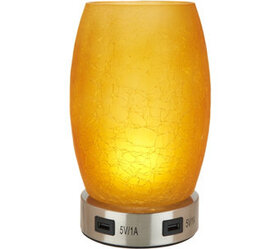 """Peace of Mind 8"""" Glass Dual Lamp and USB Charging"""