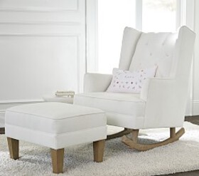 Modern Tufted Wingback Convertible Rocker & Ottoma
