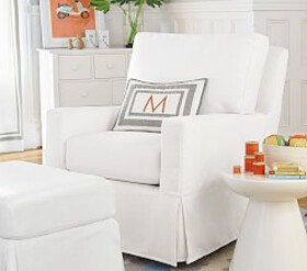 Comfort Square Arm Swivel Glider & Ottoman