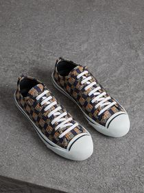 Tiled Archive Print Cotton Sneakers in Navy