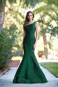 Colors Dress Asymmetrical Neck Mikado Mermaid Gown