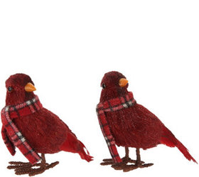 Set of 2 Glittered Cardinals with Plaid Scarves by