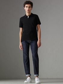 Daisy Print Trim Cotton Piqué Polo Shirt in Black