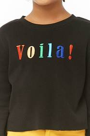 Girls Viola Embroidered Waffle Knit Top (Kids)