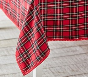 Red Plaid Holiday Tablecloth