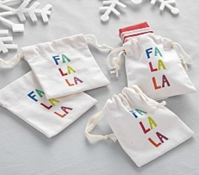 Fa la la la la Canvas Treat Containers
