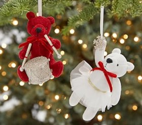 Whimsical Plush Bear & Unicorn Ornaments