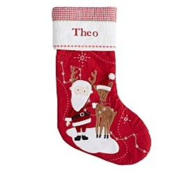 Reindeer Santa Quilted Stocking