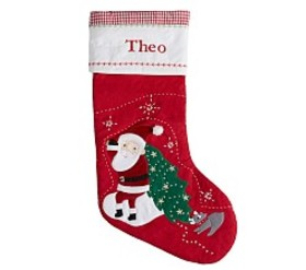 Santa & Puppy Quilted Stocking