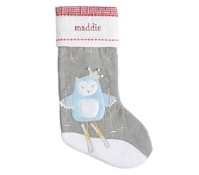 Skiing Owl Quilted Stocking