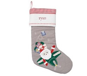 Santa & Airplane Quilted Stocking