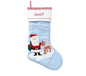 Santa & Rudolph Quilted Stocking on sale at Pottery Barn Kids