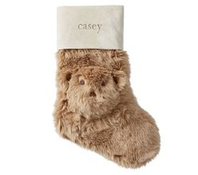 Teddy Bear Faux Fur Stocking