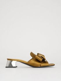 Bow Detail Satin Block-heel Mules in Antique Gold
