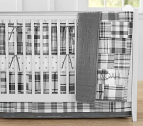 Madras Baby Bedding, Gray