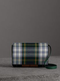 Tartan and Leather Wallet with Detachable Strap in