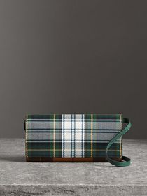 Tartan Cotton and Leather Wallet with Chain in Gre