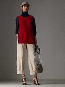 Stretch Cotton Cropped Trousers in Stone