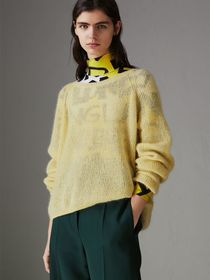 Mohair Silk Blend Sweater in Yellow Barley