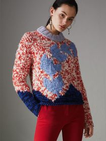 Chunky Knit Wool Blend Sweater in Bright Red