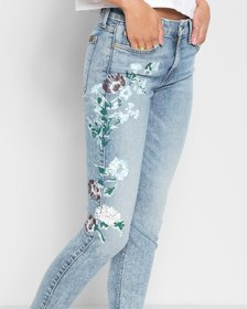 Ankle Skinny with Hand Painted Floral in Radiant W