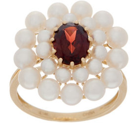 Honora Gemstone and Pearl Flower Ring, 14K Gold -