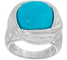 Turquoise Cushion Cut Ring, Sterling Silver - J354