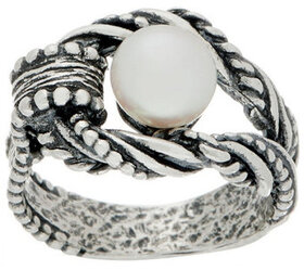 Or Paz Sterling Silver Cultured Pearl Textured Rin