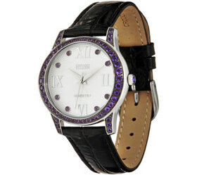 Ecclissi Facets Stainless Gemstone & Leather Watch