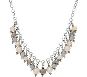 Honora Cultured Pearl & Bead Necklace Sterling or